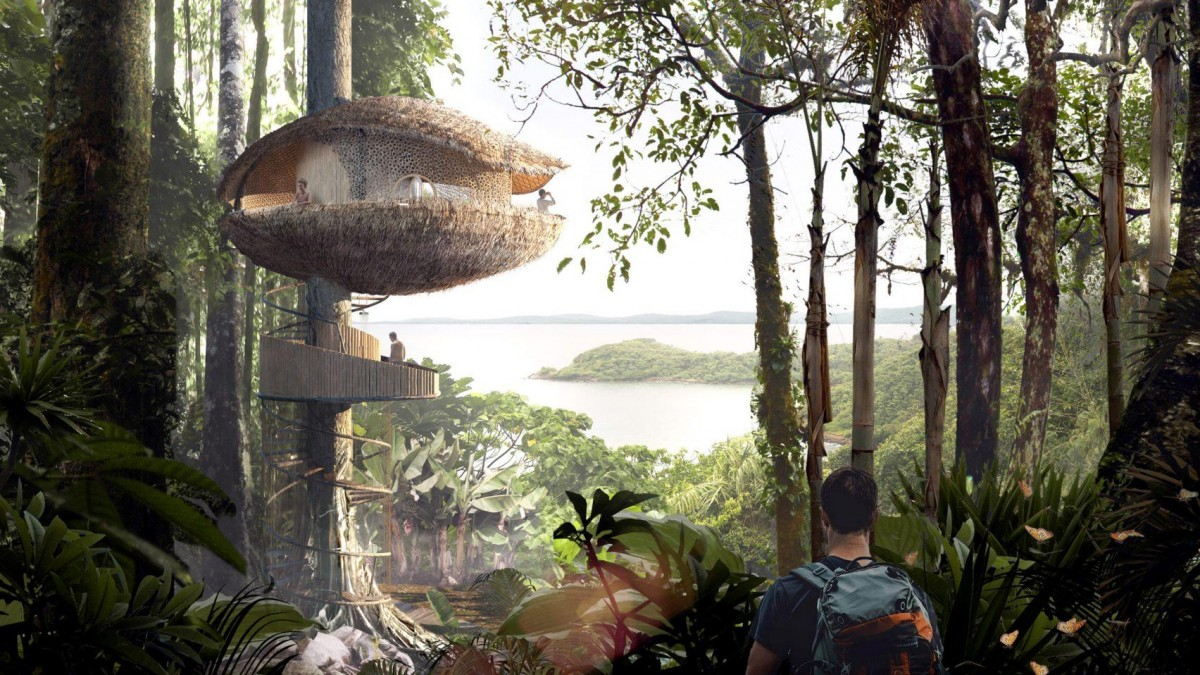 Baca Architects, Bíku Treehouse Retreat, concept for an eco hotel, Panama Island, 2017.