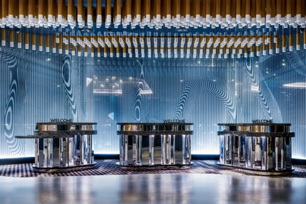 Reception at W Brisbane, with wayfinding and branding by Fabio Ongarato Design.