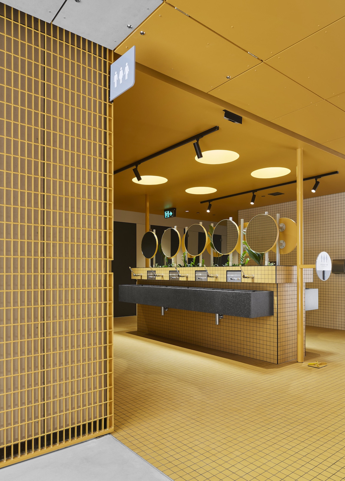 Yellow fit-out of the Hayman Theatre bathrooms