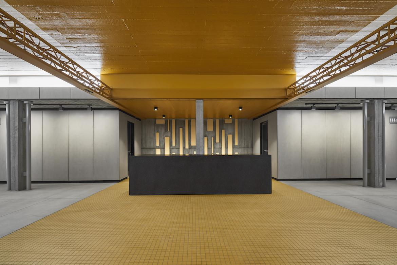 Hayman Theatre yellow and grey foyer