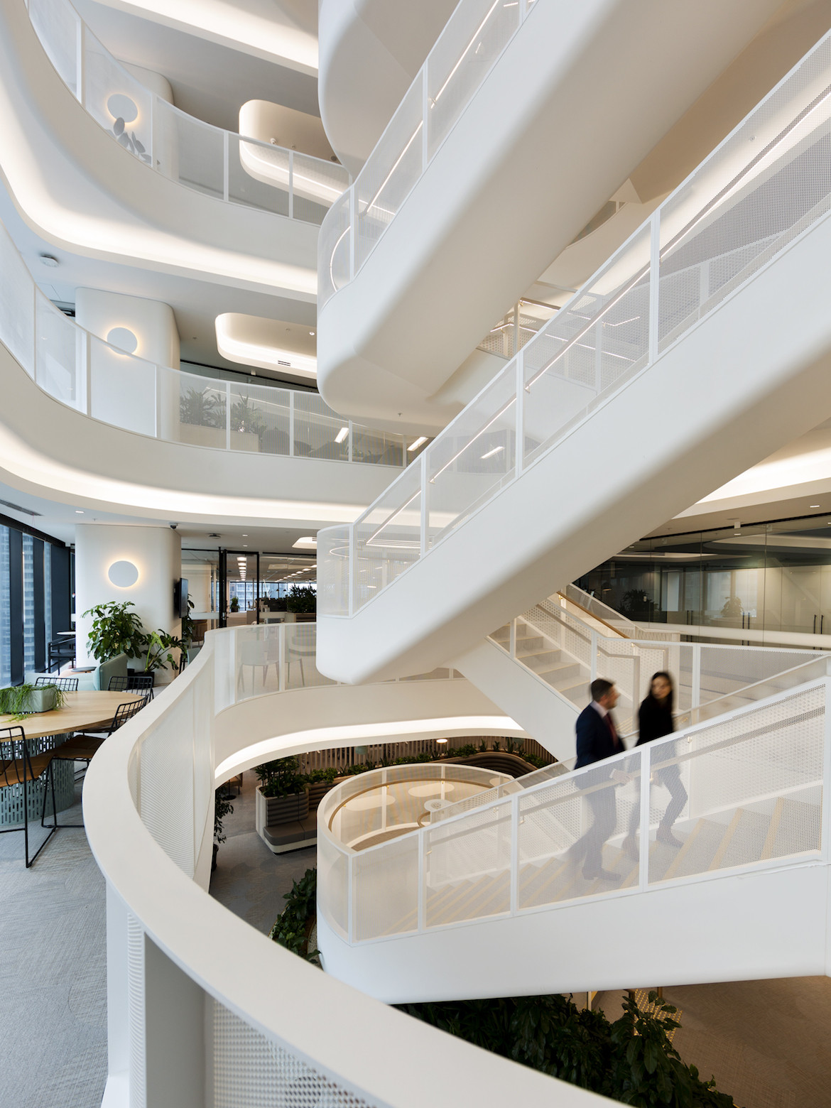 White staircase inside 130 Lonsdale Street