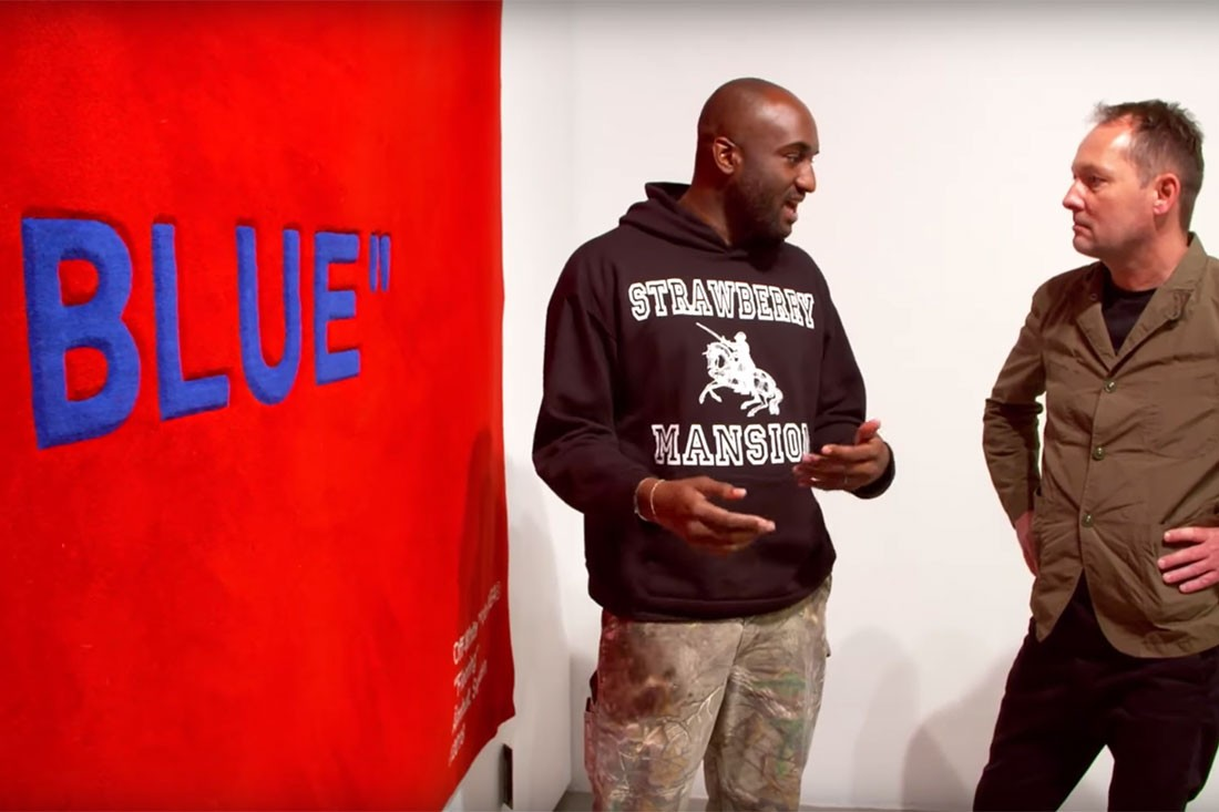 Virgil Abloh (pictured left) with a prototype of one of the rugs set to launch at IKEA.