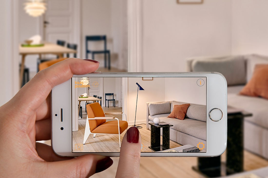 Select your favourites from Louis Poulsen and other Danish design brands via AR