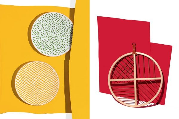 eft: A Walk In The Garden (plates) designed by Nigel Peak with Studio Hermès. Right: Attrape-Rêves (Dream Catcher), designed by Guillaume Delvigne, Damian O'Sullivan and Studio Hermès.