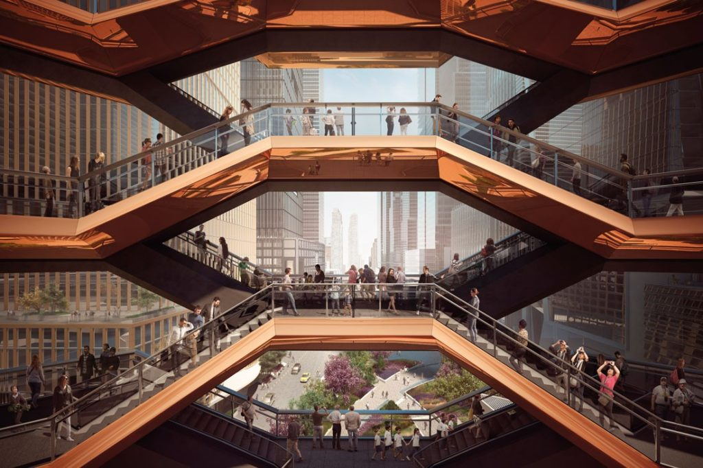 Rendering of an upper-level view through Vessel. Image courtesy Forbes Massie / Heatherwick Studio