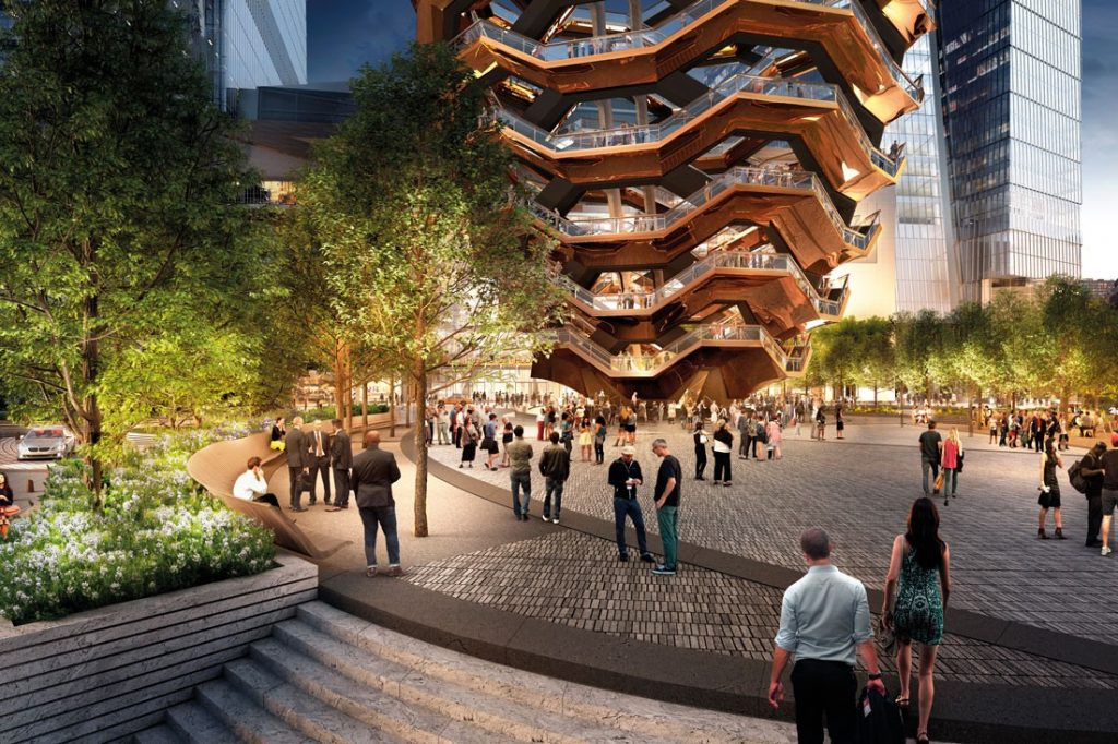 Rendering of the special events plaza around Vessel. Image courtesy of Visual House / Nelson Byrd Woltz / Heatherwick Studio