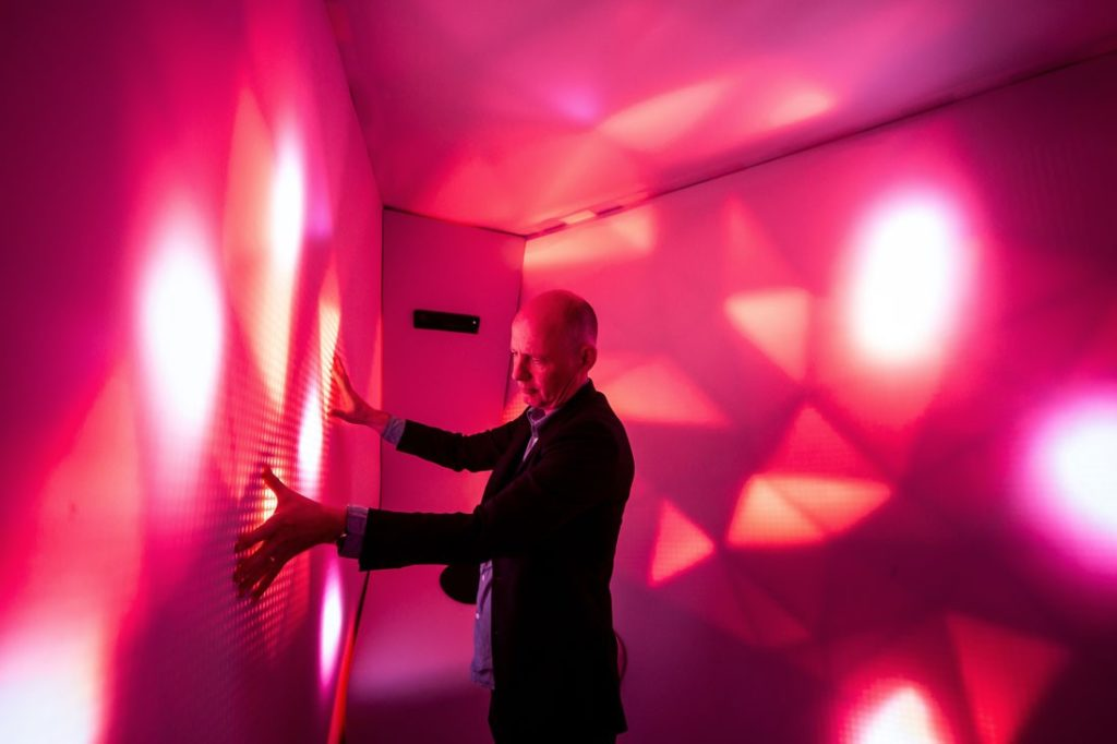 Ben van Berkel inside a RESET pod – a joint project between UNStudio and Scape.